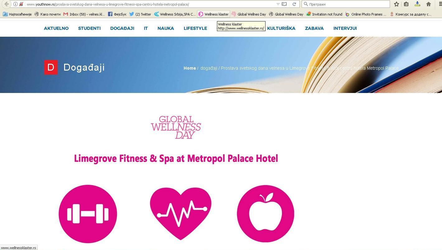 Proslava Svetskog dana velnesa u Limegrove Fitness & Spa centru hotela Metropol Palace